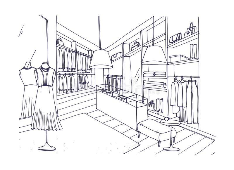 Outline drawing of fashionable clothing shop interior with furnishings, showcases, mannequins dressed in stylish apparel vector illustration