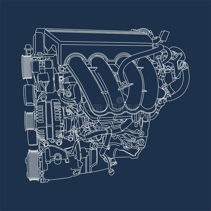 Outline drawing of Machine Engine illustration royalty free illustration