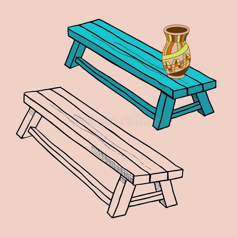 Free Outline Drawing Of A Bench. Vector Stock Illustration, A Painted Clay Jug Stands On A Wooden Rough-knocked Bench, Old Objects Of Royalty Free Stock Images - 200244469