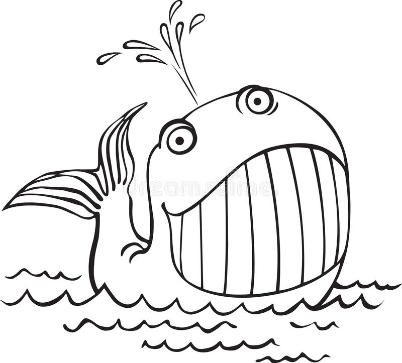 Free Outline Drawing Of A Whale. Cartoon Sea Animals Royalty Free Stock Photo - 28361415