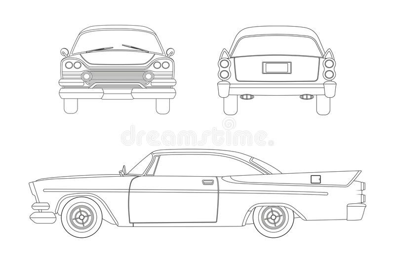 outline drawing of retro car  vintage cabriolet  front