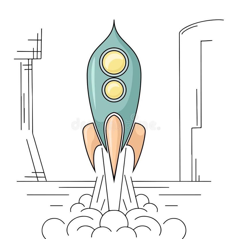 Outline drawing of retro rocket taking off from a spaceport. Space Shuttle. Vector linear drawing. For articles, banners and your creativity vector illustration