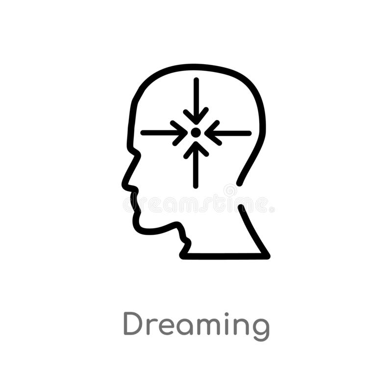 Outline dreaming vector icon. isolated black simple line element illustration from brain process concept. editable vector stroke. Dreaming icon on white vector illustration
