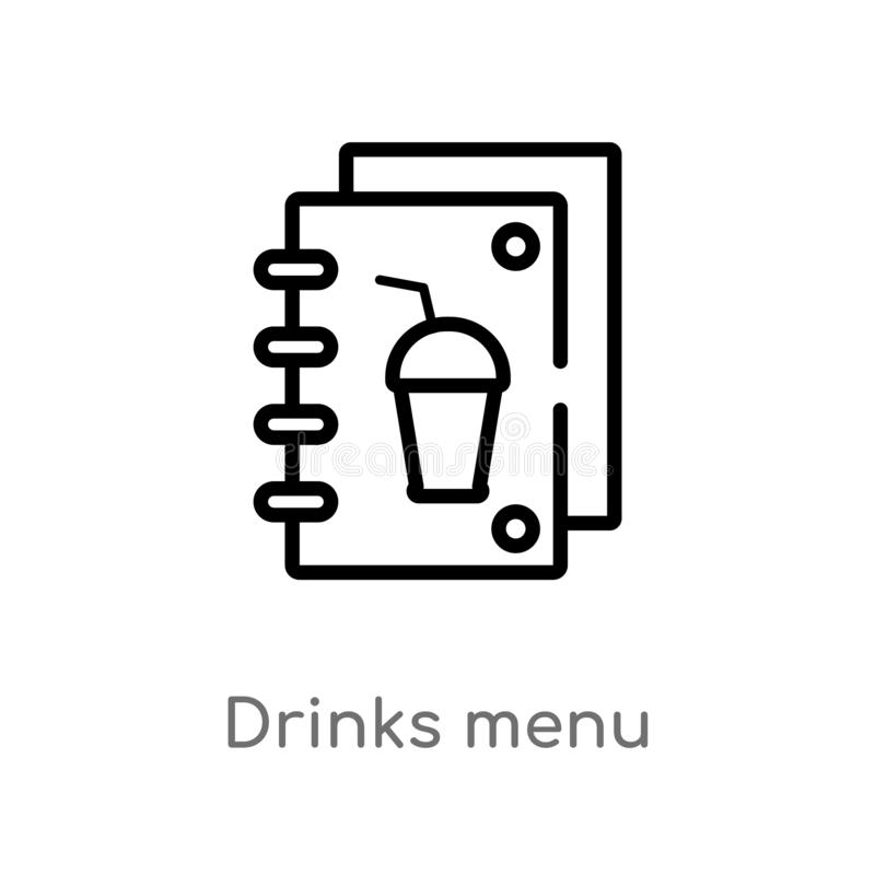 Outline drinks menu vector icon. isolated black simple line element illustration from food concept. editable vector stroke drinks. Menu icon on white background stock illustration