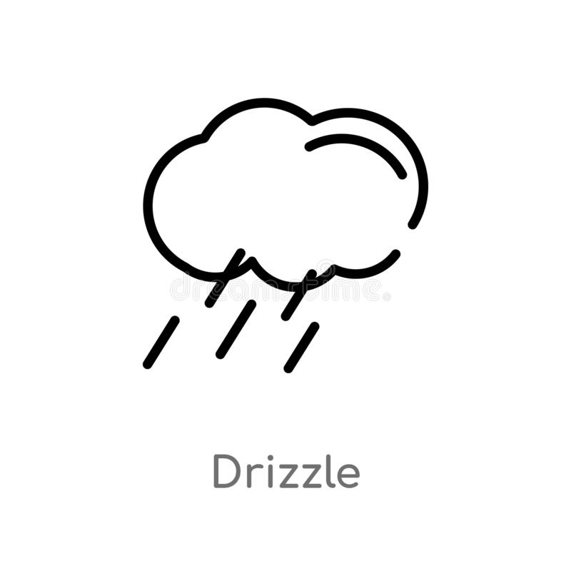 Outline drizzle vector icon. isolated black simple line element illustration from meteorology concept. editable vector stroke. Drizzle icon on white background vector illustration