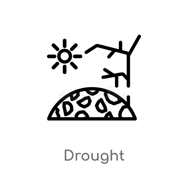 Outline drought vector icon. isolated black simple line element illustration from meteorology concept. editable vector stroke. Drought icon on white background vector illustration