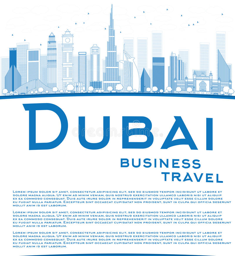 Download Outline Dubai City Skyline With Blue Skyscrapers And Copy Space Stock Vector - Illustration of downtown, business: 57400150