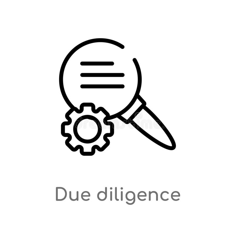 Outline due diligence vector icon. isolated black simple line element illustration from human resources concept. editable vector. Stroke due diligence icon on vector illustration
