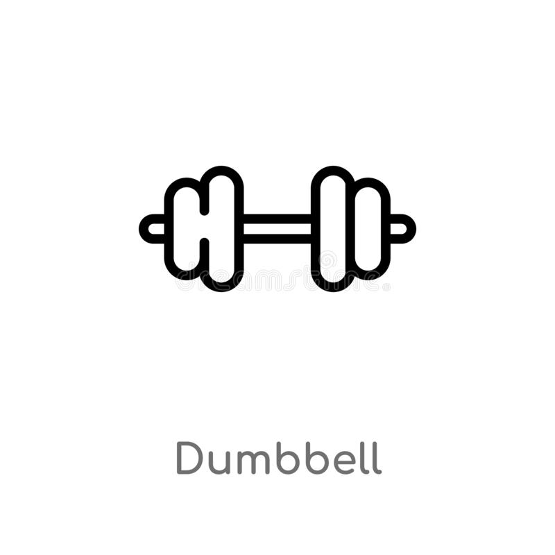Outline dumbbell vector icon. isolated black simple line element illustration from health concept. editable vector stroke dumbbell. Icon on white background vector illustration