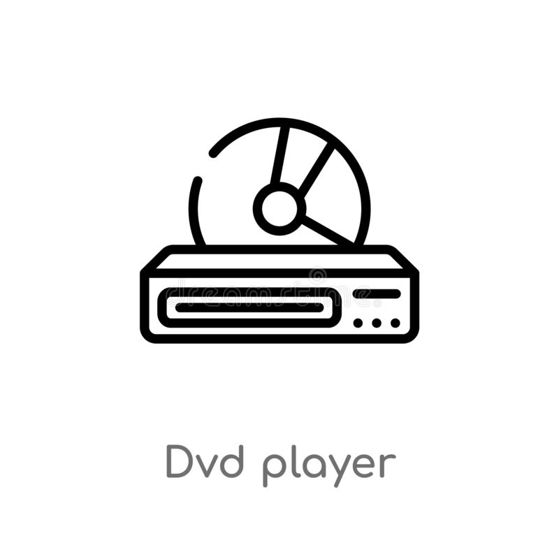 Outline dvd player vector icon. isolated black simple line element illustration from electronic devices concept. editable vector. Stroke dvd player icon on stock illustration
