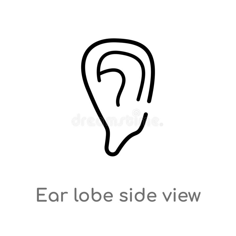 outline ear lobe side view vector icon. isolated black simple line element illustration from human body parts concept. editable stock illustration