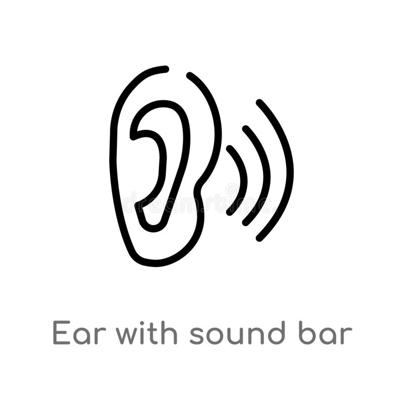 Outline ear with sound bar vector icon. isolated black simple line element illustration from ultimate glyphicons concept. editable. Vector stroke ear with sound stock illustration