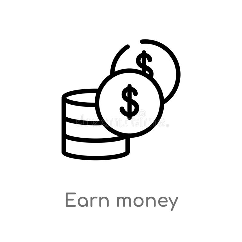 outline earn money vector icon. isolated black simple line element illustration from user interface concept. editable vector royalty free illustration