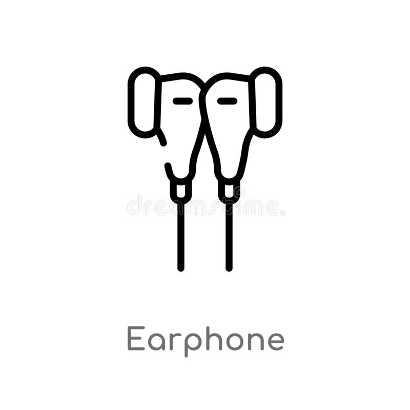 Outline earphone vector icon. isolated black simple line element illustration from electronic devices concept. editable vector. Stroke earphone icon on white stock illustration