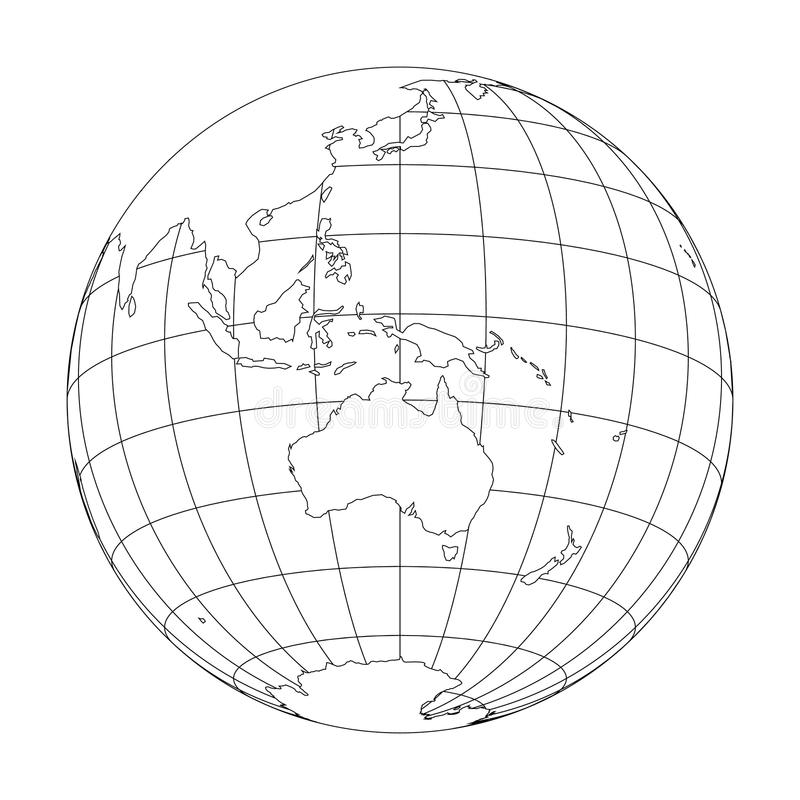 Outline Earth globe with map of World focused on Australia and Oceania. Vector illustration.  stock illustration