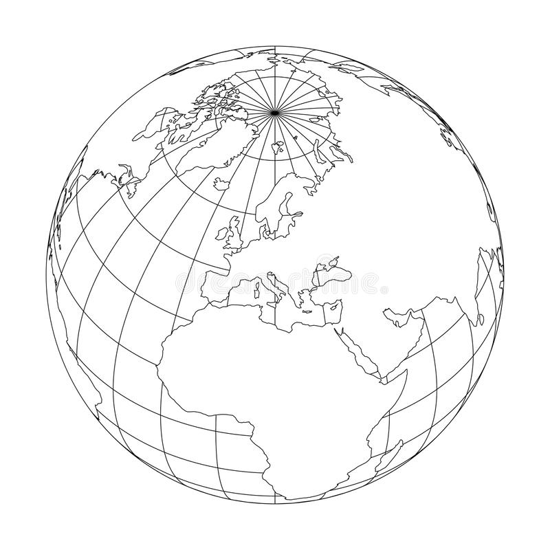 Outline Earth globe with map of World focused on Europe. Vector illustration.  vector illustration