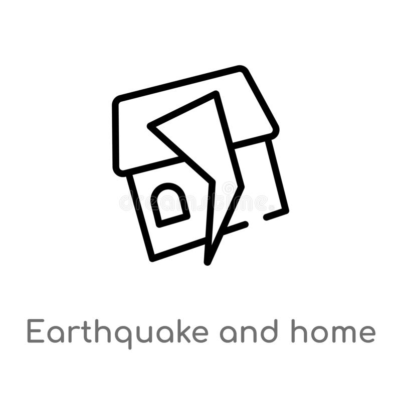 Outline earthquake and home vector icon. isolated black simple line element illustration from meteorology concept. editable vector. Stroke earthquake and home stock illustration