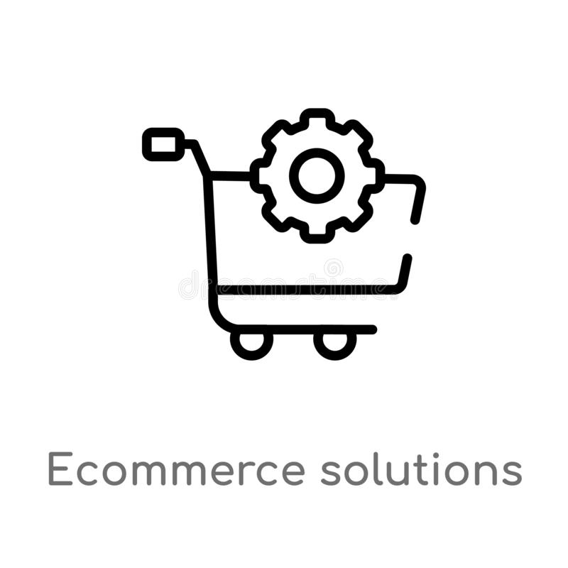 outline ecommerce solutions vector icon. isolated black simple line element illustration from general-1 concept. editable vector vector illustration