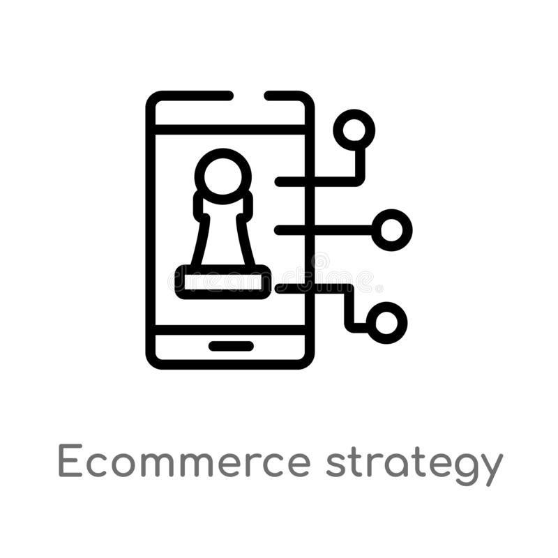outline ecommerce strategy vector icon. isolated black simple line element illustration from general-1 concept. editable vector stock illustration