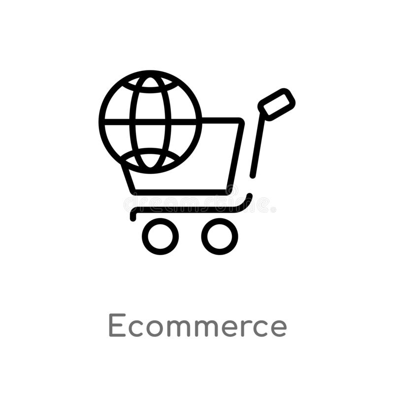 outline ecommerce vector icon. isolated black simple line element illustration from social media marketing concept. editable royalty free illustration