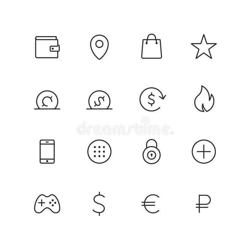 Outline ecommerce vector icons. For web and mobile. Thin 2 pixel stroke stock illustration