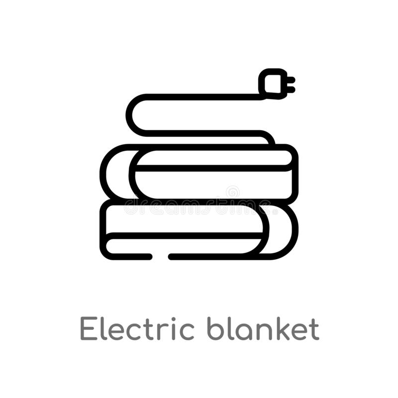 Outline electric blanket vector icon. isolated black simple line element illustration from electronic devices concept. editable. Vector stroke electric blanket royalty free illustration