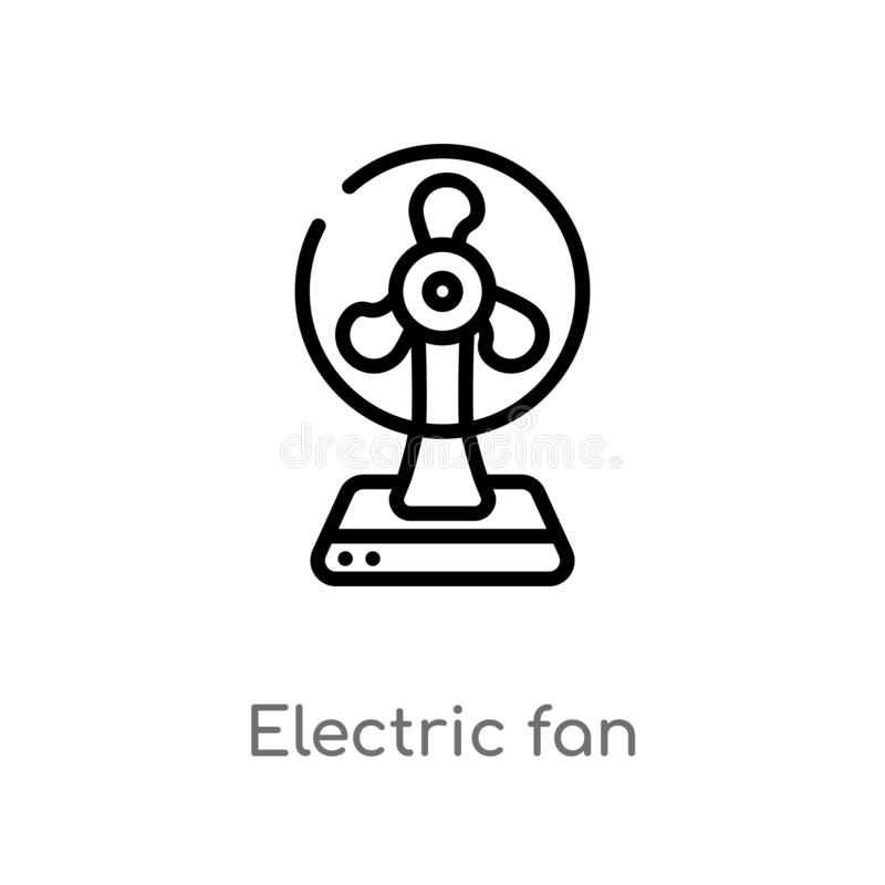 Outline electric fan vector icon. isolated black simple line element illustration from electronic devices concept. editable vector. Stroke electric fan icon on royalty free illustration