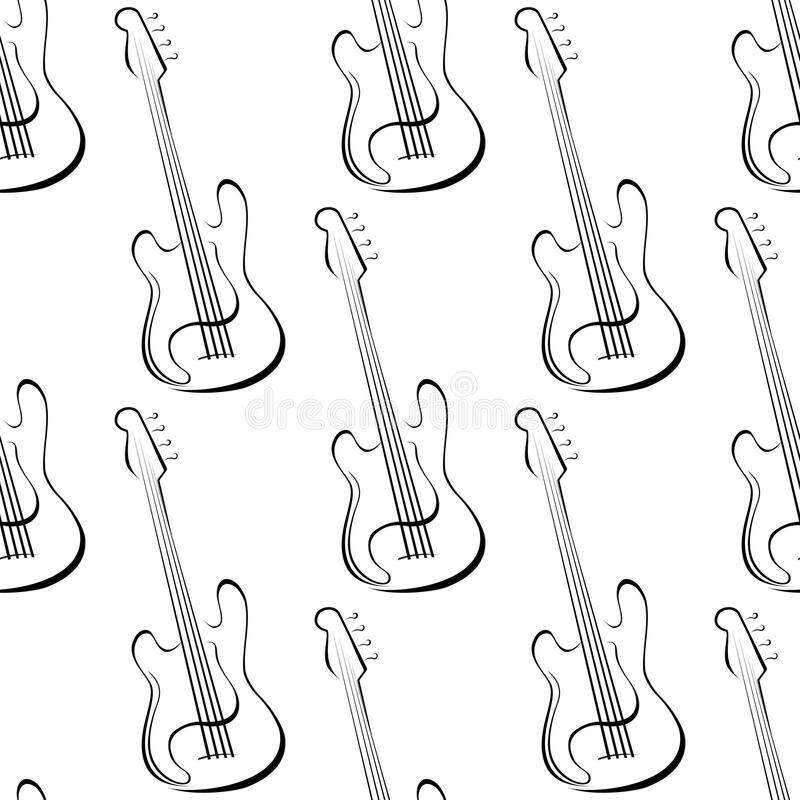 Outline electric guitars seamless pattern stock illustration