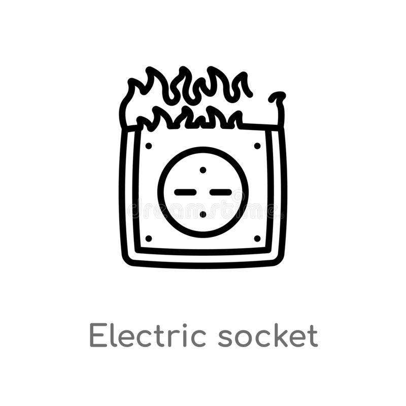 outline electric socket on fire vector icon. isolated black simple line element illustration from technology concept. editable royalty free illustration