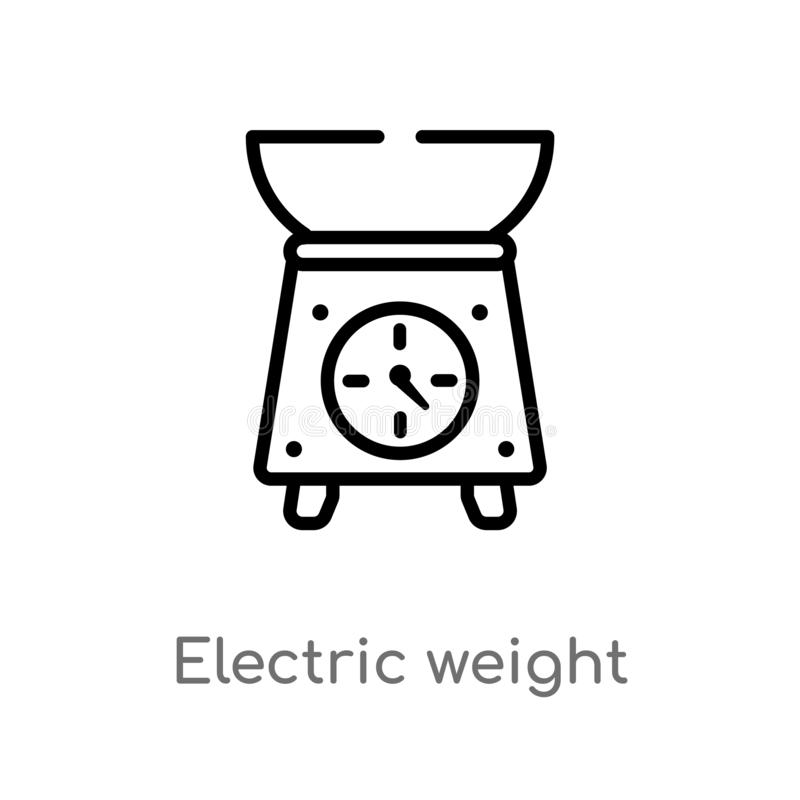 outline electric weight scale vector icon. isolated black simple line element illustration from bistro and restaurant concept. stock illustration