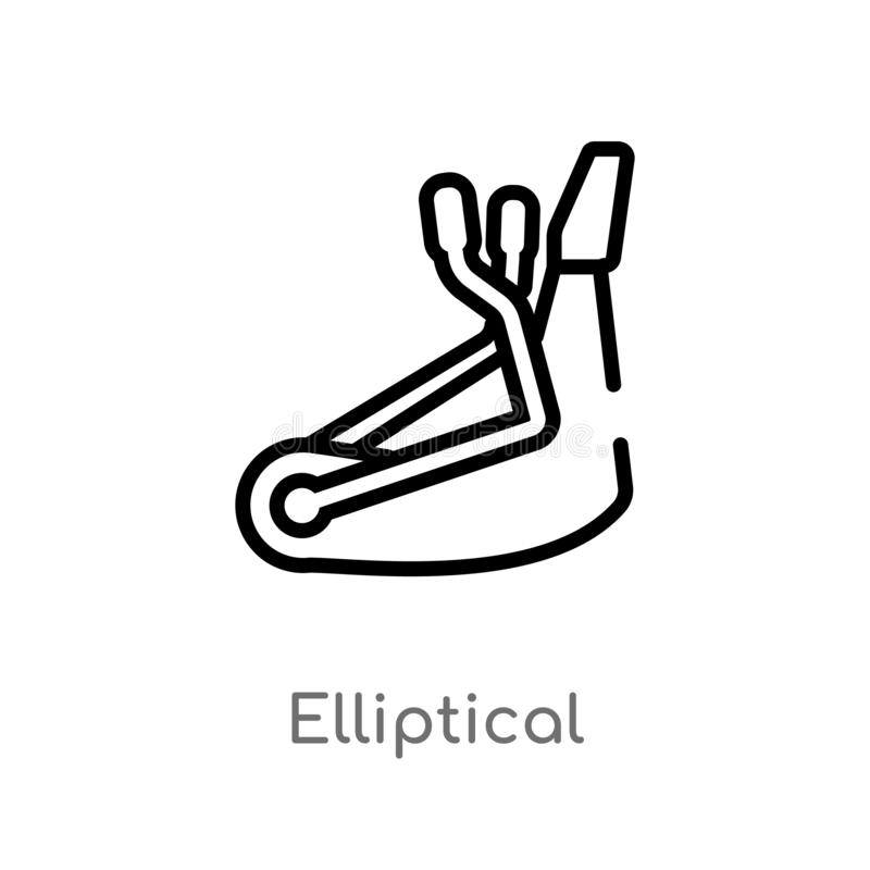 outline elliptical vector icon. isolated black simple line element illustration from gym equipment concept. editable vector stroke vector illustration