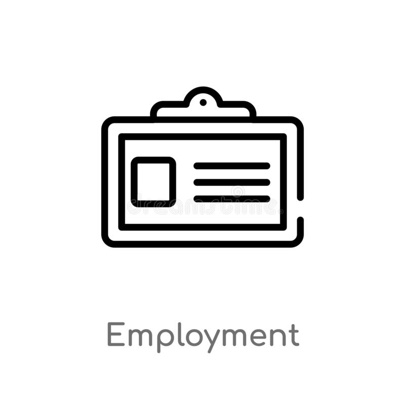 Outline employment vector icon. isolated black simple line element illustration from law and justice concept. editable vector. Stroke employment icon on white royalty free illustration