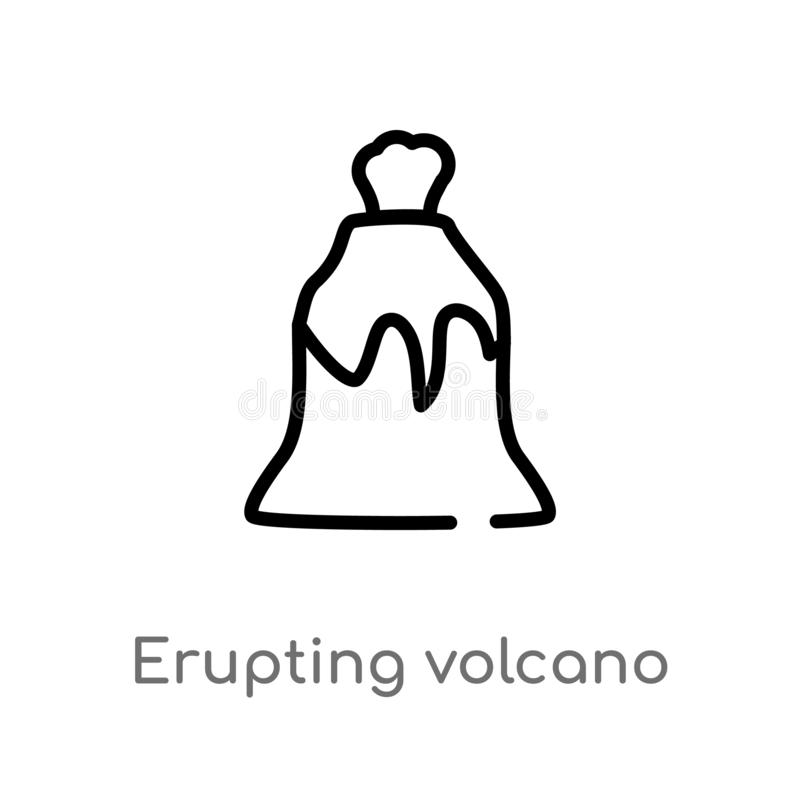 Outline erupting volcano vector icon. isolated black simple line element illustration from meteorology concept. editable vector. Stroke erupting volcano icon on stock illustration