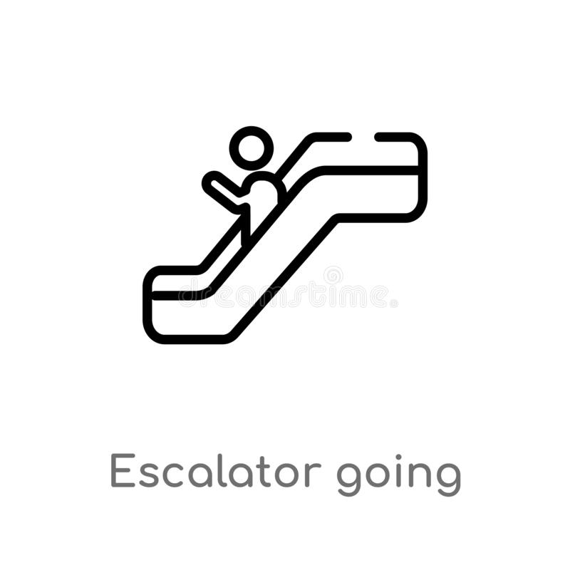 outline escalator going down vector icon. isolated black simple line element illustration from signs concept. editable vector vector illustration