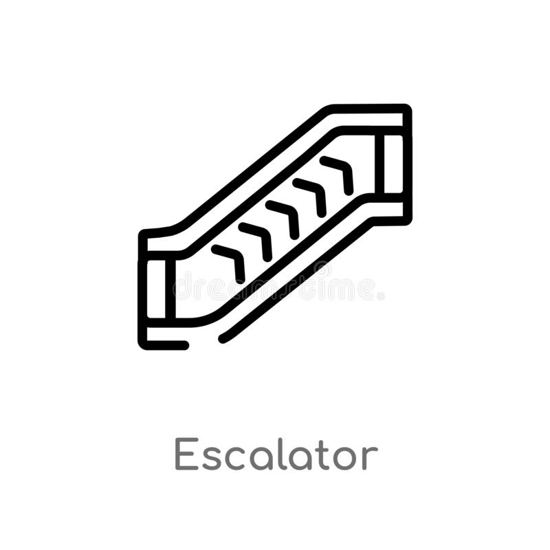 Outline escalator vector icon. isolated black simple line element illustration from accommodation concept. editable vector stroke. Escalator icon on white vector illustration