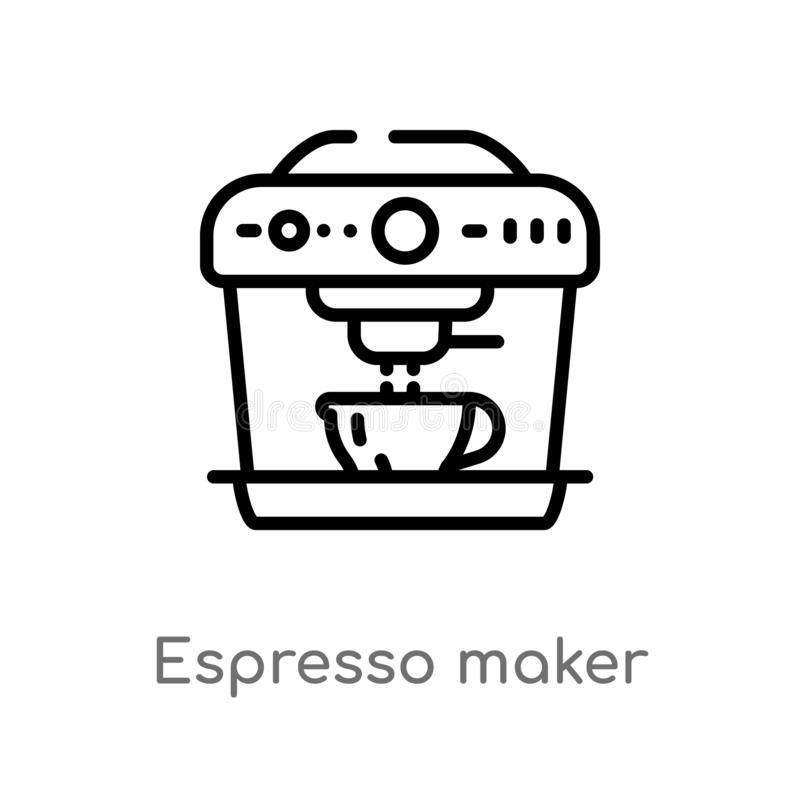 Outline espresso maker vector icon. isolated black simple line element illustration from electronic devices concept. editable. Vector stroke espresso maker icon vector illustration