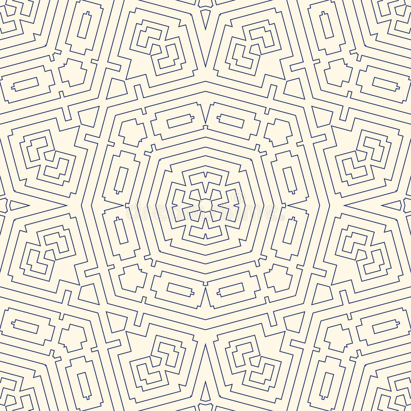 Outline ethnic abstract background. Seamless pattern with symmetric geometric ornament. Can be used for coloring books and pages, textile print, page fill stock illustration