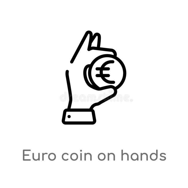 outline euro coin on hands vector icon. isolated black simple line element illustration from business concept. editable vector royalty free illustration