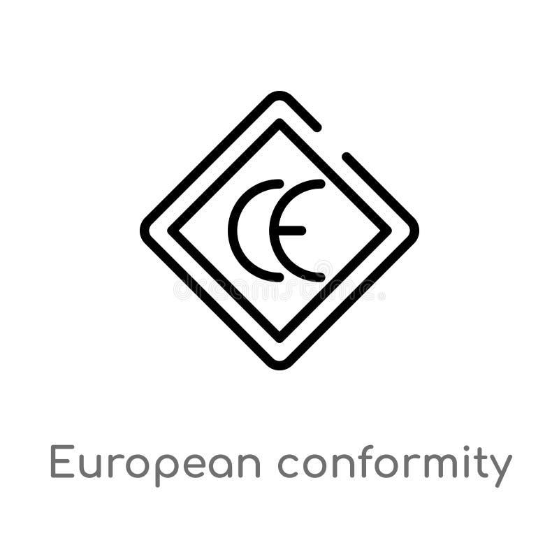 Outline european conformity vector icon. isolated black simple line element illustration from logo concept. editable vector stroke. European conformity icon on vector illustration