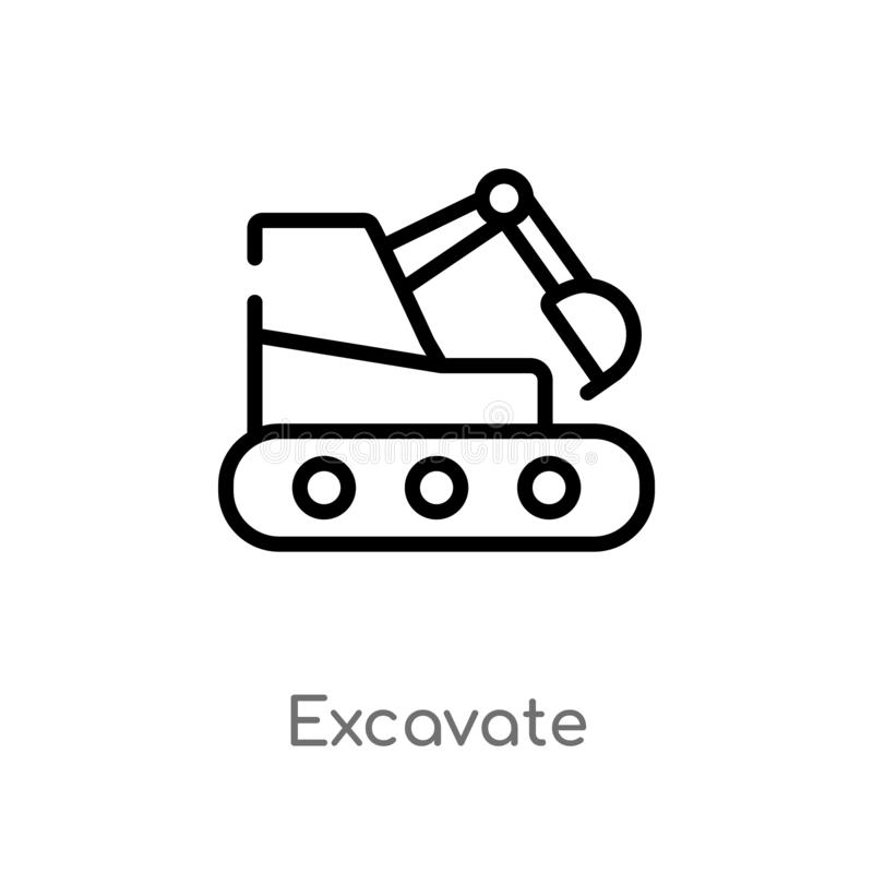 Outline excavate vector icon. isolated black simple line element illustration from transport concept. editable vector stroke. Excavate icon on white background stock illustration