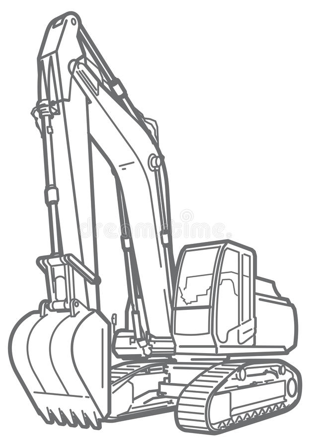 Outline excavator isolated stock illustration