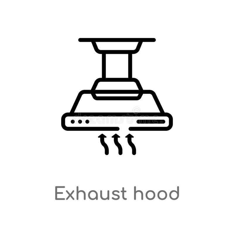 Outline exhaust hood vector icon. isolated black simple line element illustration from electronic devices concept. editable vector. Stroke exhaust hood icon on stock illustration