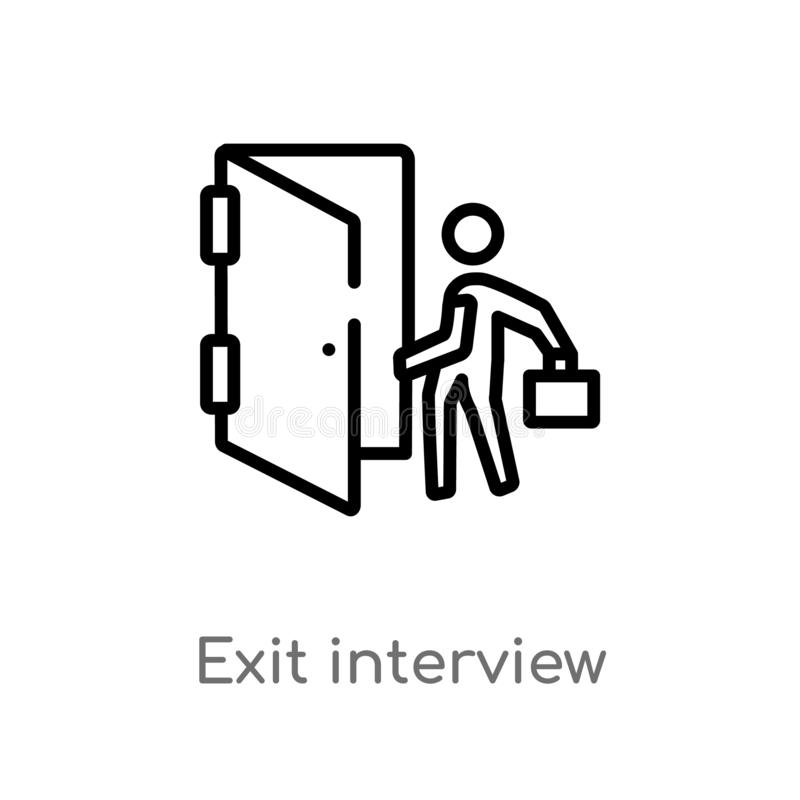outline exit interview vector icon. isolated black simple line element illustration from human resources concept. editable vector royalty free illustration