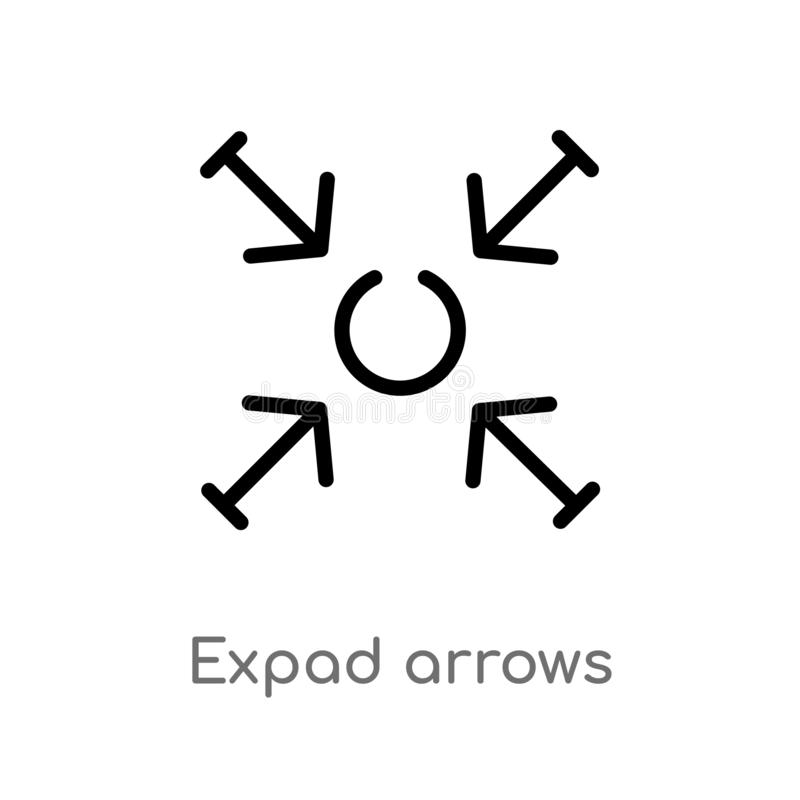outline expad arrows vector icon. isolated black simple line element illustration from arrows concept. editable vector stroke royalty free illustration
