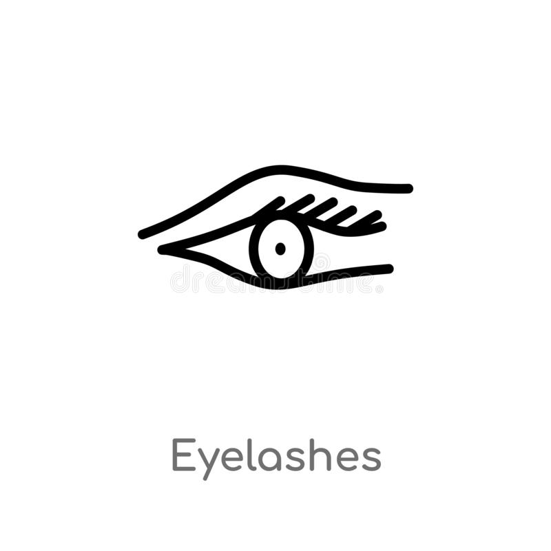 outline eyelashes vector icon. isolated black simple line element illustration from gestures concept. editable vector stroke royalty free illustration