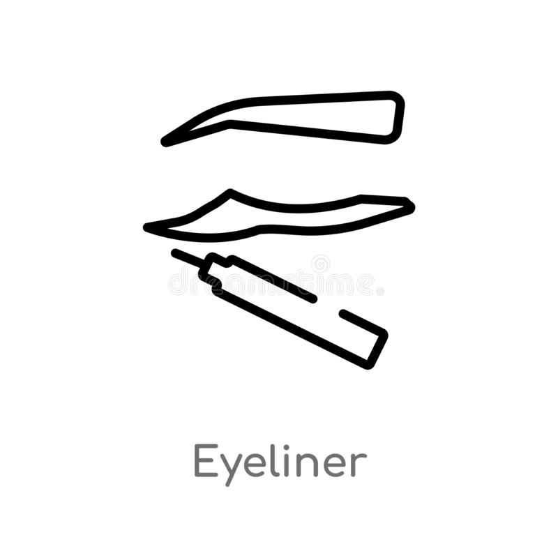 outline eyeliner vector icon. isolated black simple line element illustration from beauty concept. editable vector stroke eyeliner royalty free illustration