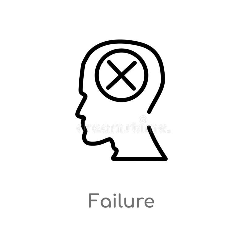 Outline failure vector icon. isolated black simple line element illustration from brain process concept. editable vector stroke. Failure icon on white vector illustration