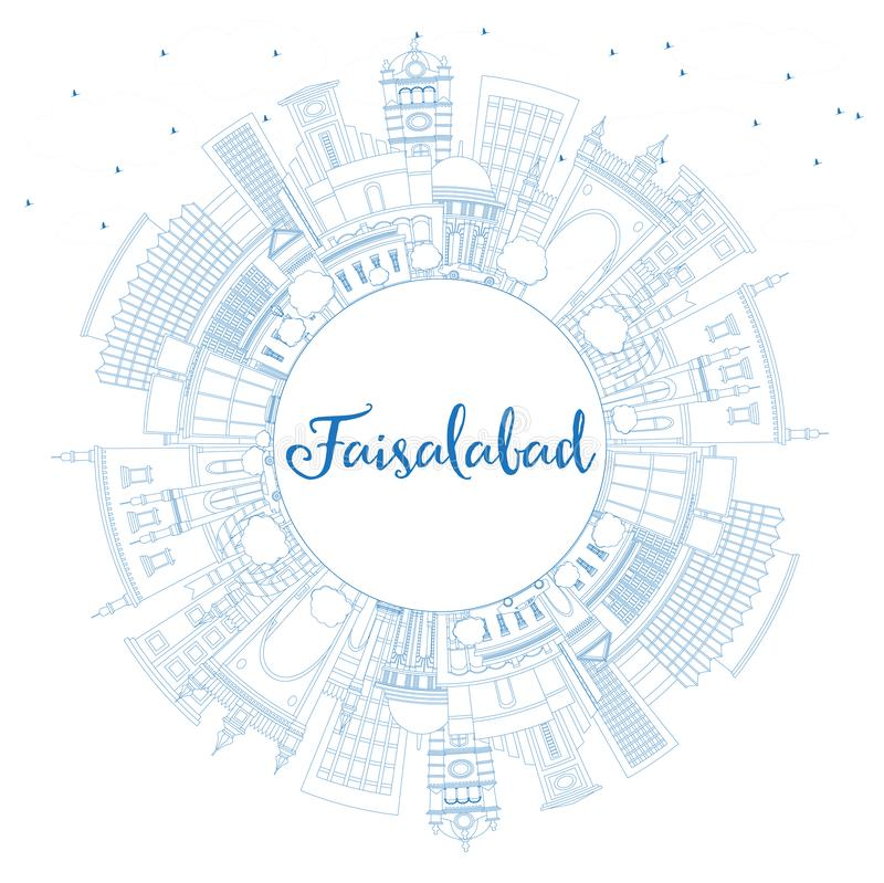 Outline Faisalabad Pakistan City Skyline with Blue Buildings and Copy Space. Vector Illustration. Business Travel and Tourism Concept with Modern Architecture vector illustration