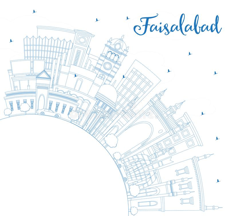 Outline Faisalabad Pakistan City Skyline with Blue Buildings and Copy Space. Vector Illustration. Business Travel and Tourism Concept with Modern Architecture royalty free illustration