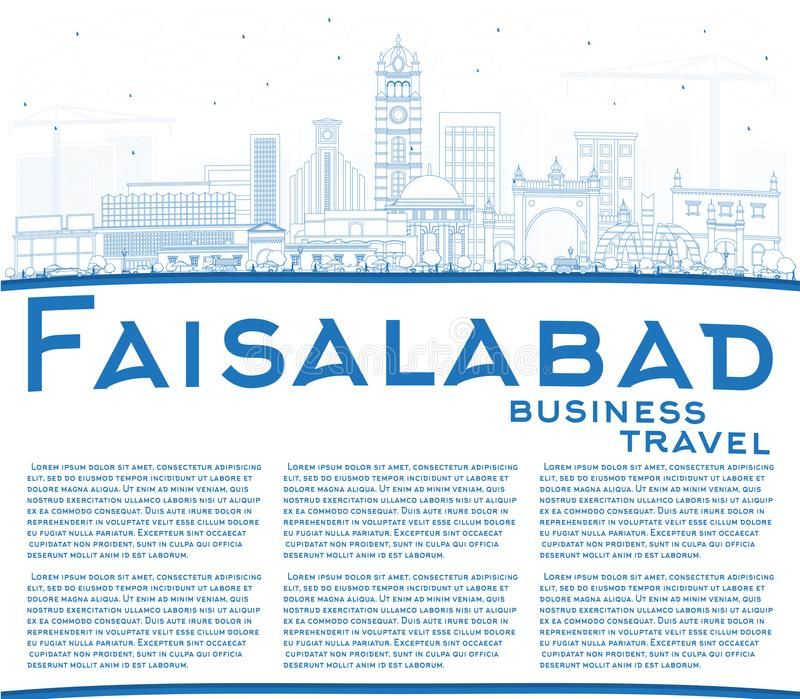 Outline Faisalabad Pakistan City Skyline with Blue Buildings and. Copy Space. Vector Illustration. Business Travel and Tourism Concept with Modern Architecture vector illustration